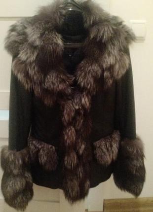Кожанная куртка с чернобуркой