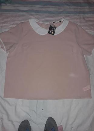 Симпатичная брендовая блуза  цвета пудры