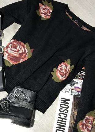 Очень тёплая кофта / свитер с цветами