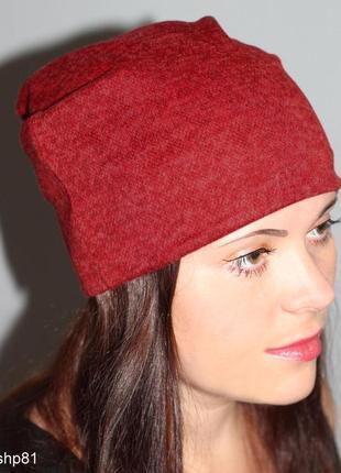 Красная алая яркая бордовая шапка бини чулок ангора на осень, зиму