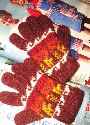 Теплые веселые шерстяные рукавички на 2-3 года