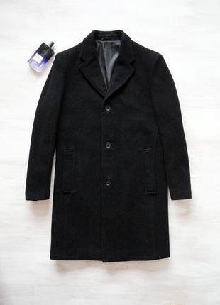 Пальто чёрное шерстяное, классическое, удлинённое, качественное, бойфренд