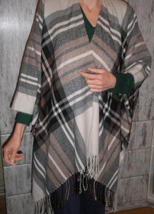 Теплая и удобная накидка пончо шарф pieces accessories шерсть кашемир 145х120см