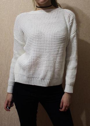 Белый пуловер джемпер свитер кофта оверсайз oversize