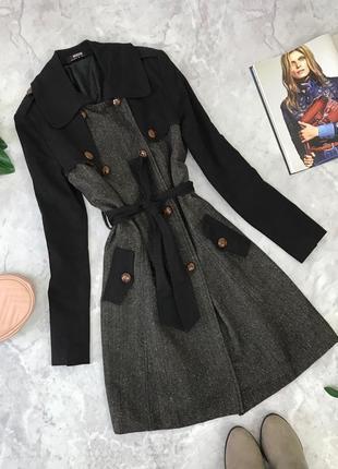 Комбинированное пальто под пояс  ov1845007 morgan