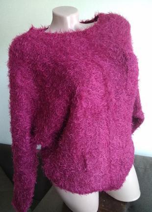 Свитер кофта джемпер пуловер вязаный размер 12 мягкий травка мохнатый
