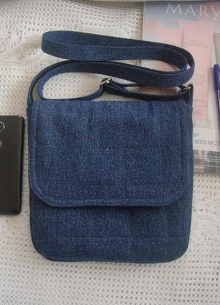 Джинсовая сумочка с длинной ручкой через плечо