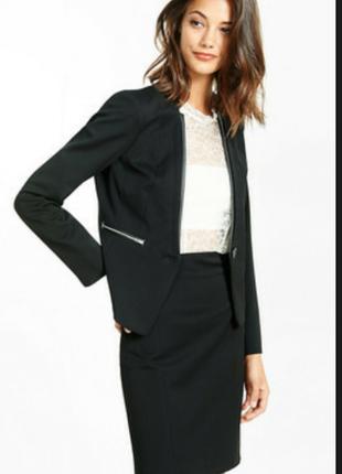 Пиджак с кожаным воротником