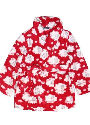 Новый флисовый красный халат для девочки, original marines, 3987