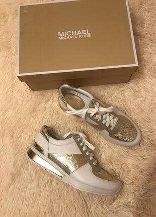 Sale!!! белые кожаные кроссовки michael kors оригинал из сша