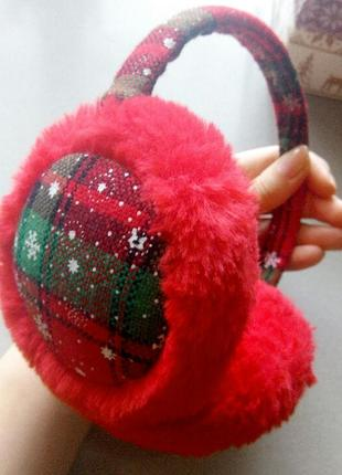 Тёплые зимние пушистые наушники красные мягкие меховые новогодние наушники