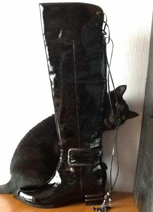 0e7b39291 Черные настоящие !! итальянские сапоги ботфорты натуральная кожа лак класс  baldinini