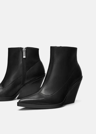 Zara стильные ботинки казаки,натуральная кожа,новая коллекция 38 размер