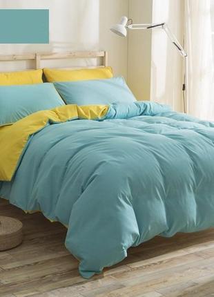 Бирюзовое, красивое постельное белье семейное (набор, комплект)