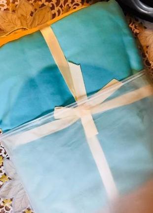 Бирюзовое, красивое постельное белье семейное (набор, комплект)3