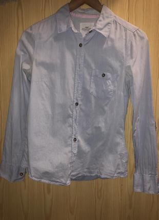 Рубашка h&m c цветными манжетами и нашивками на локоть