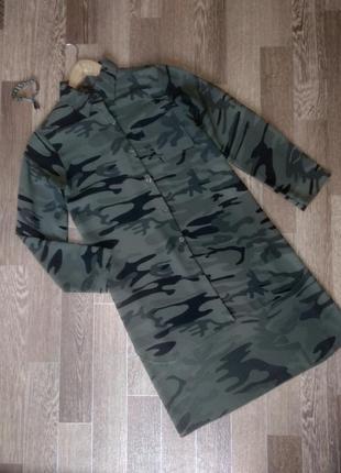 Оригинальная защитная рубашка-кардиган в стиле милитари камуфляж