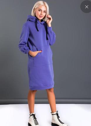 Тёплое платье свитшот на флисе