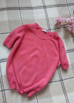 Кашемировый свитер с коротким рукавом коралового  цвета от marks&spencer