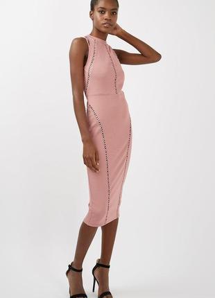 Пудровое платье-миди  от  topshop