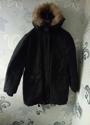 Черная парка, теплая куртка курточка