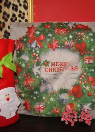 Декоративный чехол на подушку  новый год и рождество