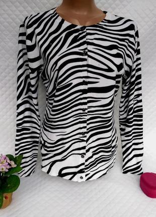 Красивая кофточка - кардиган в принт зебры с стразами размер 14-16 (44-46)