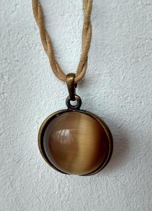 Шикарный винтажный кулон,подвеска кошачий глаз,натуральный камень,бронза