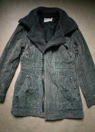 Стильная вельветовая курточка,теплая косуха,демисезонная удлиненная курточка, пальто