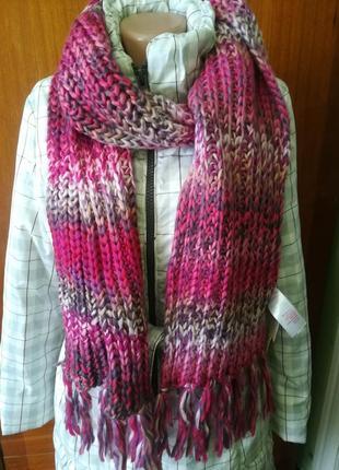 Большой шарф крупной вязки с расцветкой амбре