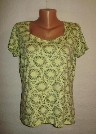 Лимонная футболка в цветочек трикотаж средней плотности /батал/16/50 размера