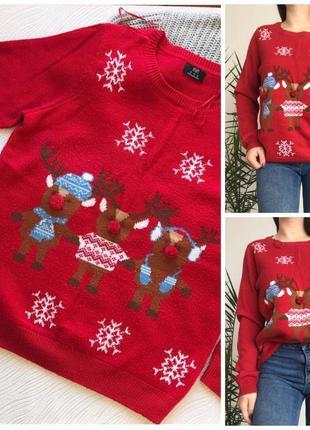 Новогодний тёплый свитер с оленями3