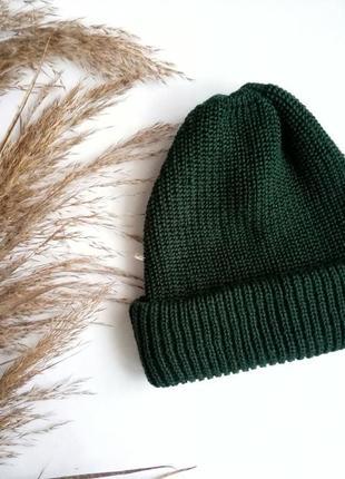 Шапка для осені та зими, шапка теплая, шапка зеленая, базовая!