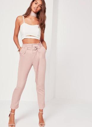 Лавандовые брюки с оборкой missguided