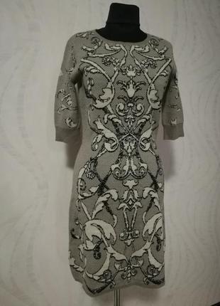 Полушерстяное трикотажное платье короткий рукав  шикарный барочный орнамент
