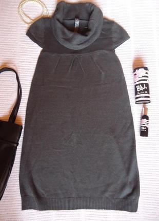 Теплое трикотажное платье баллон