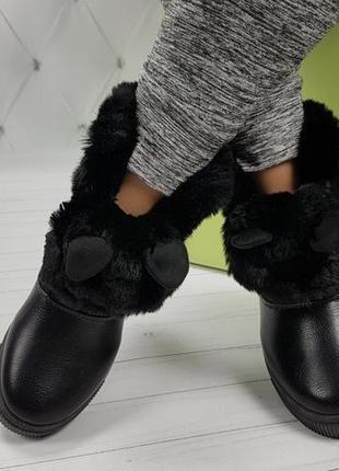 Новые чёрные зимние ботинки с ушками размер 36,39