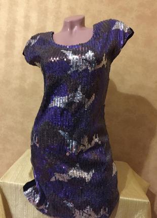 Секси короткое платье в пайетках 10uk