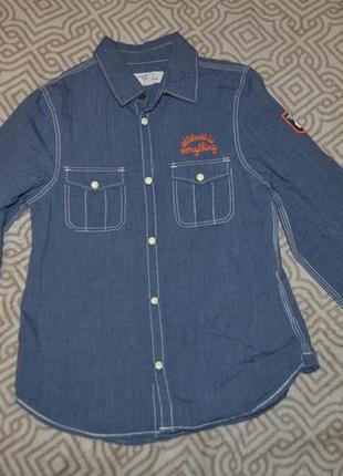 Стильная рубашка на кнопках мальчику h&m на 7-8 лет  в сост новой англия