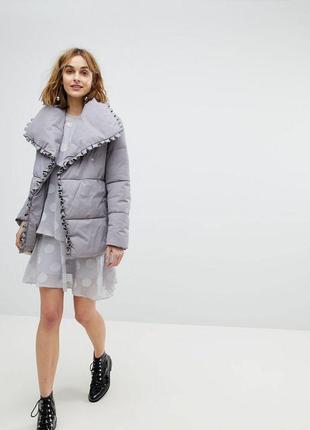 Куртка/пуховик/одеяло/курточка на запах с поясом серая /зефирка asos lost ink