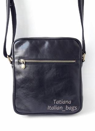 Мужская кожаная сумка в стиле casual, черная. италия vera pelle