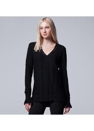Теплый трендовий черный вязаный свитер женский кофта