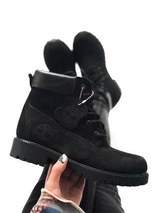 Шикарные зимние ботинки timberland black (с мехом!) унисекс, мужские/ женские