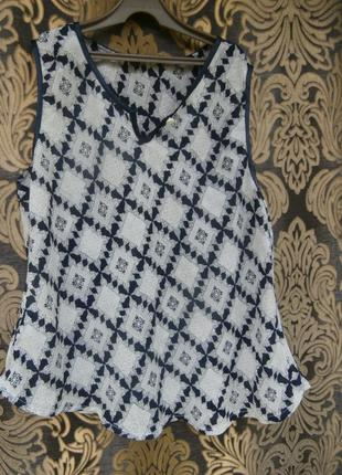 Шифоновая блуза без рукавов в принт италия