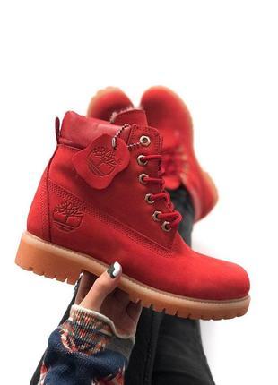 Шикарные зимние ботинки timberland red (с мехом!) унисекс, мужские/ женские