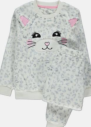 Теплая плюшевая пижама george домашний костюм снежный леопард есть все размеры