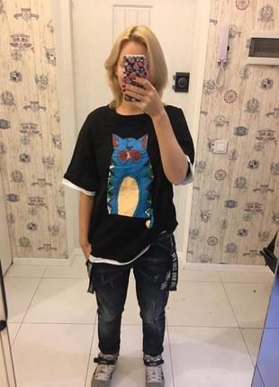 Милая футболка oversize с котом
