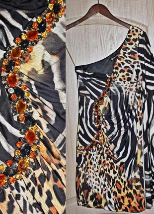 Ошеломляющее платье с камнями р 38