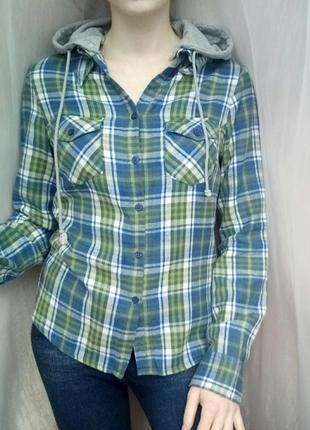 Рубашка байковая теплая длинный рукав с капюшоном в клетку s-m