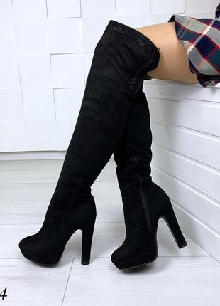 Ботфорты зимние на высоком каблуке. размеры с 36 по 40